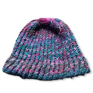 Large handmade pink, blue and purple hat